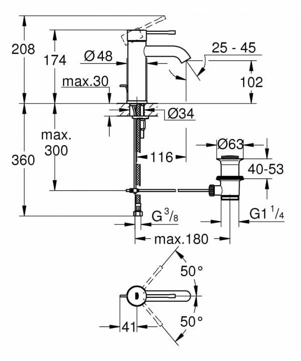Grohe Essence Bateria umywalkowa,  Rozmiar S 23589001
