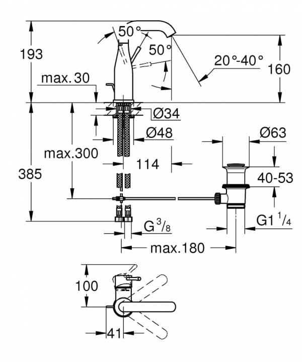 Grohe Essence Bateria umywalkowa, Rozmiar M 23462001