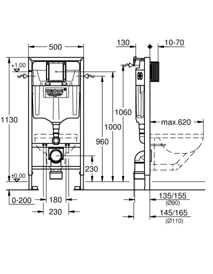 GROHE stelaż WC Rapid SL 3w1 z przyciskiem spłukującym SKATE COSMOPOLITAN typ S 39501000
