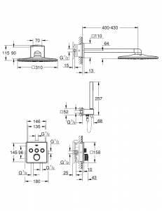 GROHE GROHTHERM SMARTCONTROL ZESTAW PRYSZNICOWY RAINSHOWER 310 CUBE 34706000