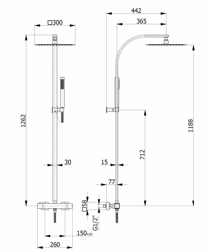 Giulini Giovanni Kolumna natryskowa z baterią termostatyczną czarna 98000WC