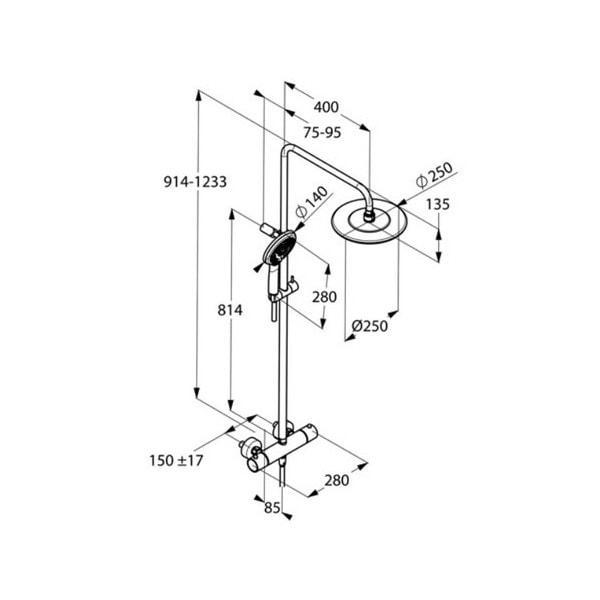 KLUDI zestaw natryskowy D-ZIRE z termostatem i deszczownicą 6609605-00