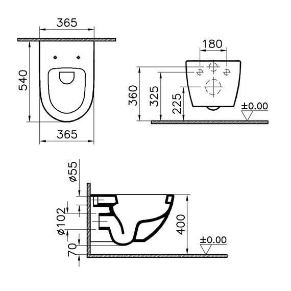 VITRA Sento BLACK Miska WC podwieszana z deską SLIM 54x37 kolor czarny mat 7748B083-0075